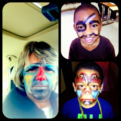 How my mom spends her weekends...letting kids paint her face. ha!
