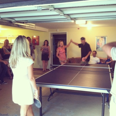 Ping Pong! A little high five for winning ;)